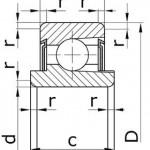 Подшипники шариковые радиальные однорядные с выступающим внутренним кольцом, с двумя защитными шайбами, с канавкой для комплектования шариками без сепаратора